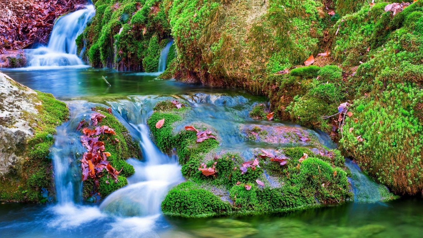 waterfalls river creek reflection pretty summer green waterfall - Beautiful Flower Gardens Waterfalls