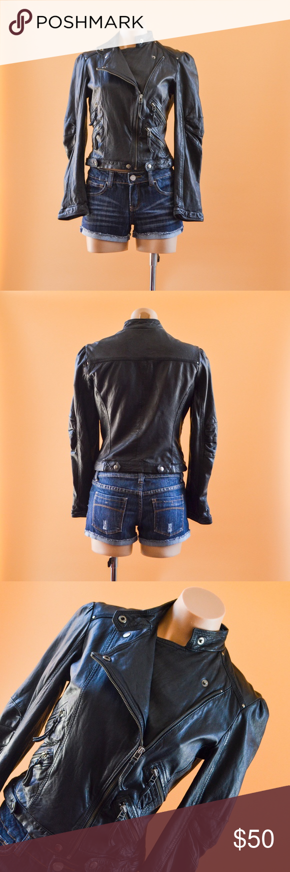 Zara Black Faux leather Motorcycle jacket Faux leather