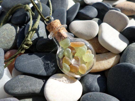verre de mer en flacon flacon bijoux bijoux verre de mer collier flacon rempli de verre. Black Bedroom Furniture Sets. Home Design Ideas