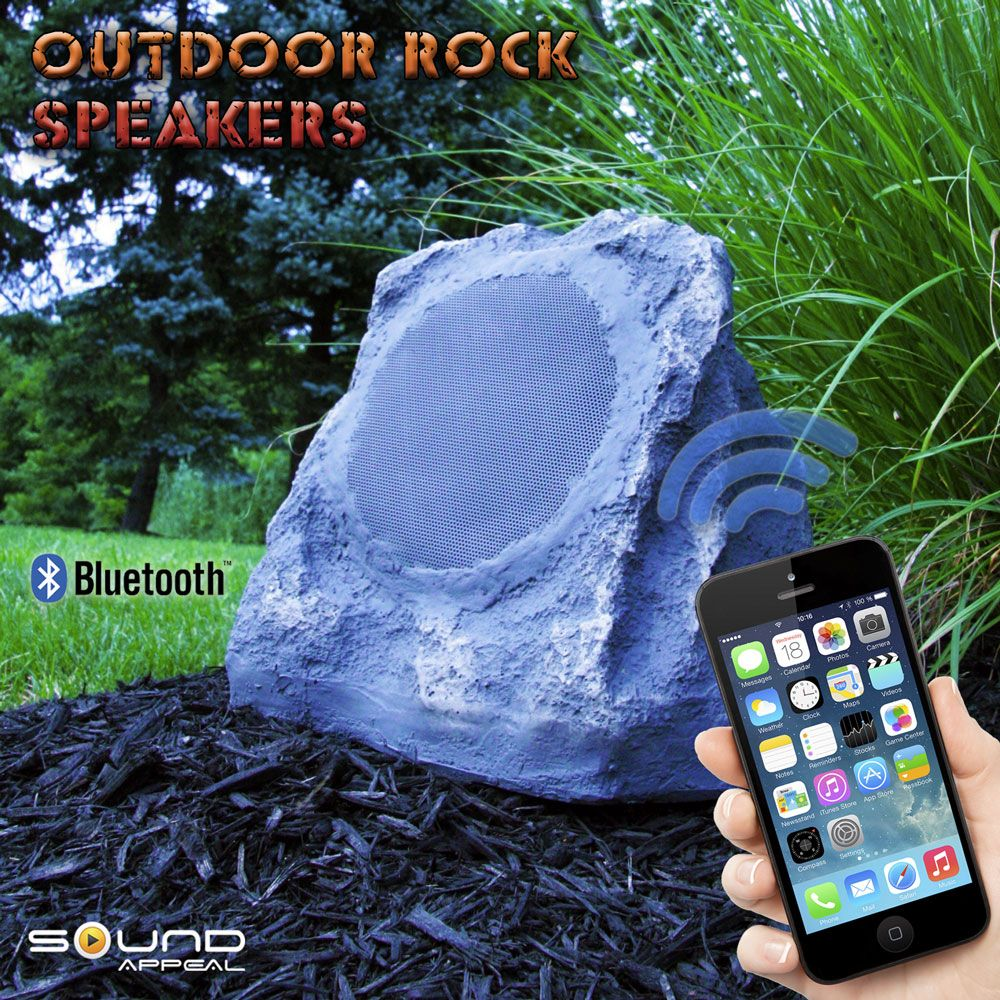 Bluetooth Rock Speakers For Back Yard Or Patio By Sound Appeal Wireless Outdoor Speakers Outdoor Speakers Outdoor Bluetooth Speakers