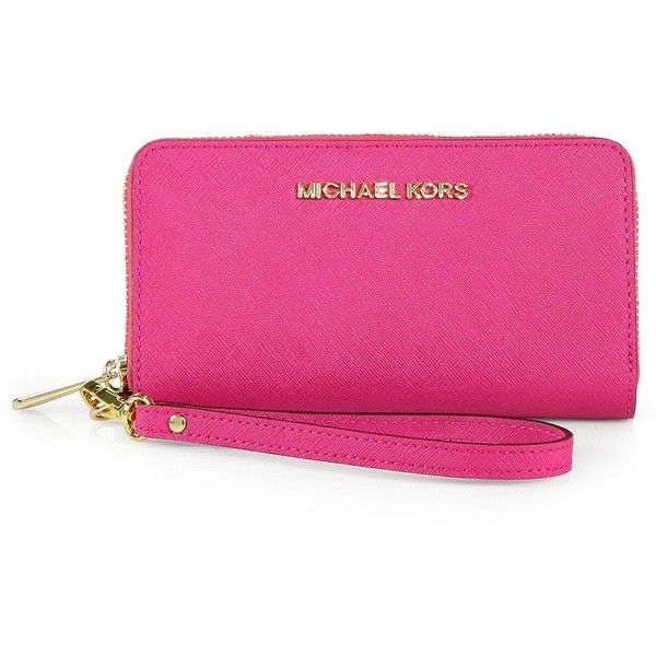 MICHAEL MICHAEL KORS Saffiano Leather Wristlet ($115) ❤ liked on Polyvore featuring bags, handbags, clutches, apparel & accessories, pink clutches, michael michael kors purse, michael michael kors, saffiano leather purse and cell phone wristlet