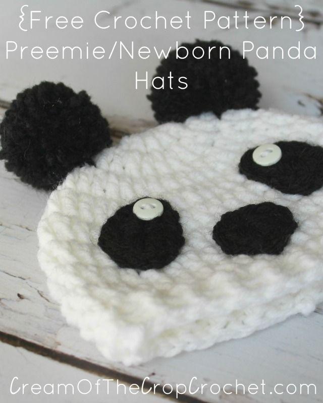 Preemie/Newborn Panda Hats Pattern