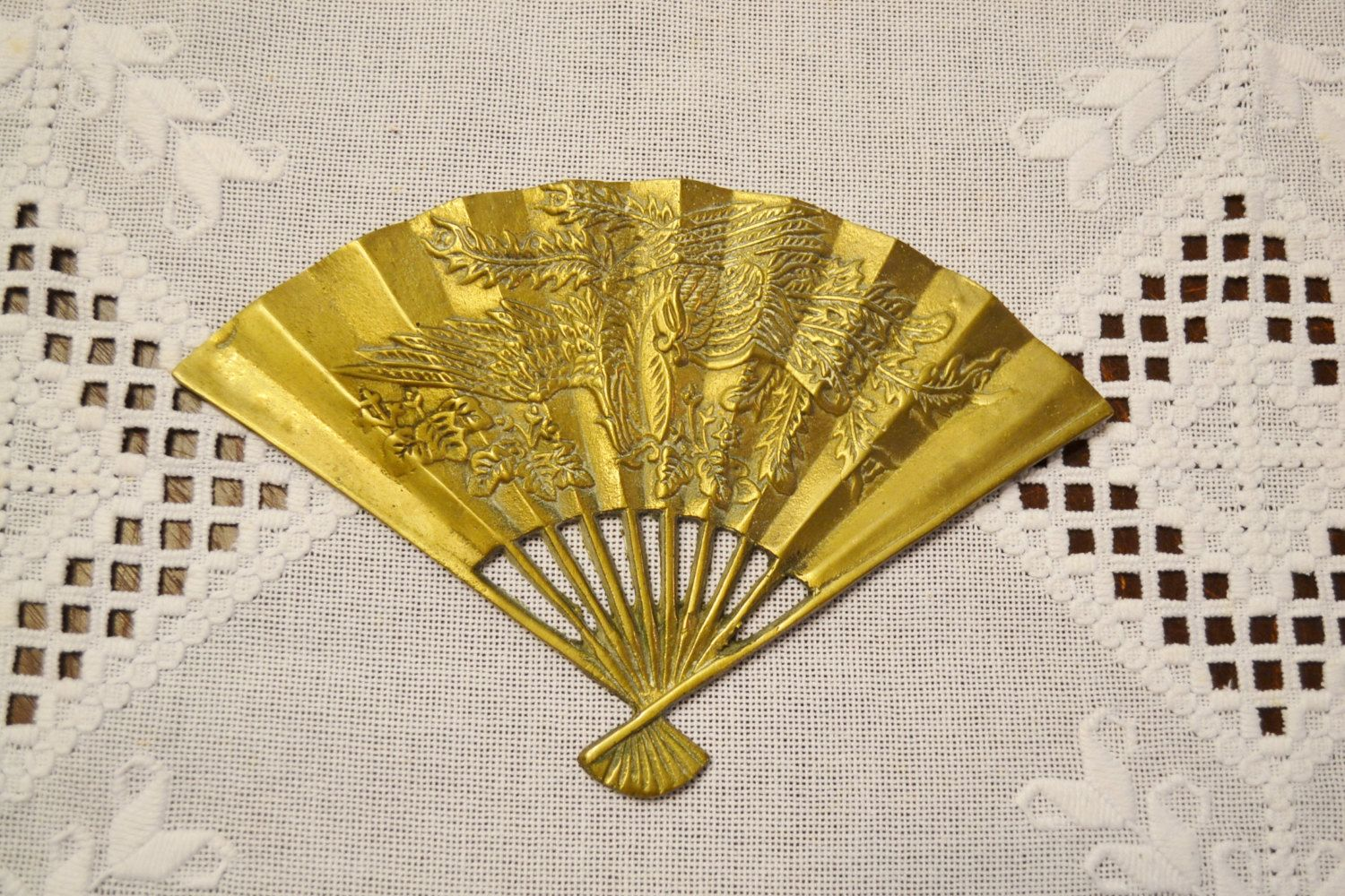 Vintage Brass Fan Wall Decor Embossed Design Wall Art Phoenix Bird ...