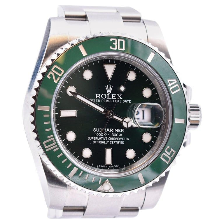 Rolex Stainless Steel Green Hulk Submariner Watch Ref. 116610LV #stainlesssteelrolex