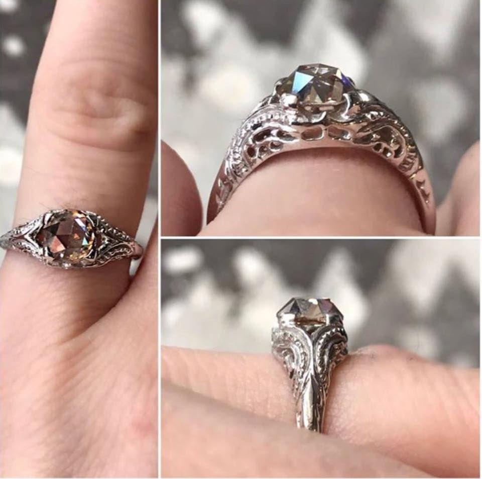 Vintage Inspired 100ct Rose Cut, Cognac Diamond Engagement Ring 💍😍