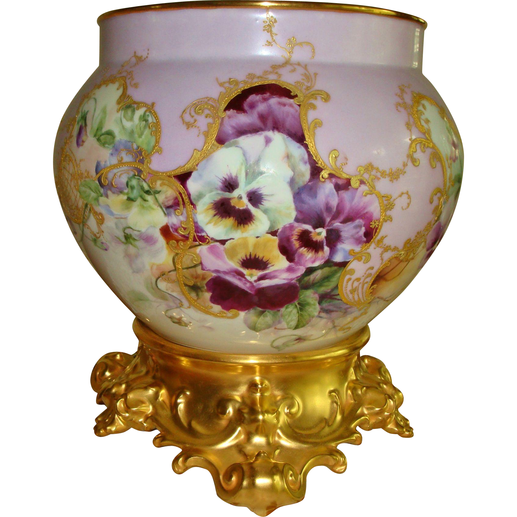 Gorgeous hand painted museum quality antique limoges france gorgeous hand painted museum quality antique limoges france porcelain jardiniere vase urn ornate base plinth pansies reviewsmspy