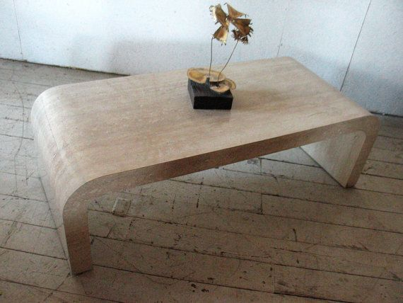 Great Mid Century Modern Waterfall Coffee Table , Faux Stone   Karl Springer  Eames Era 70s LOVE