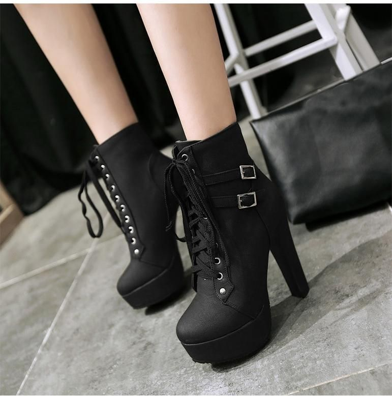 Lace Up Buckle High Heels Ankle