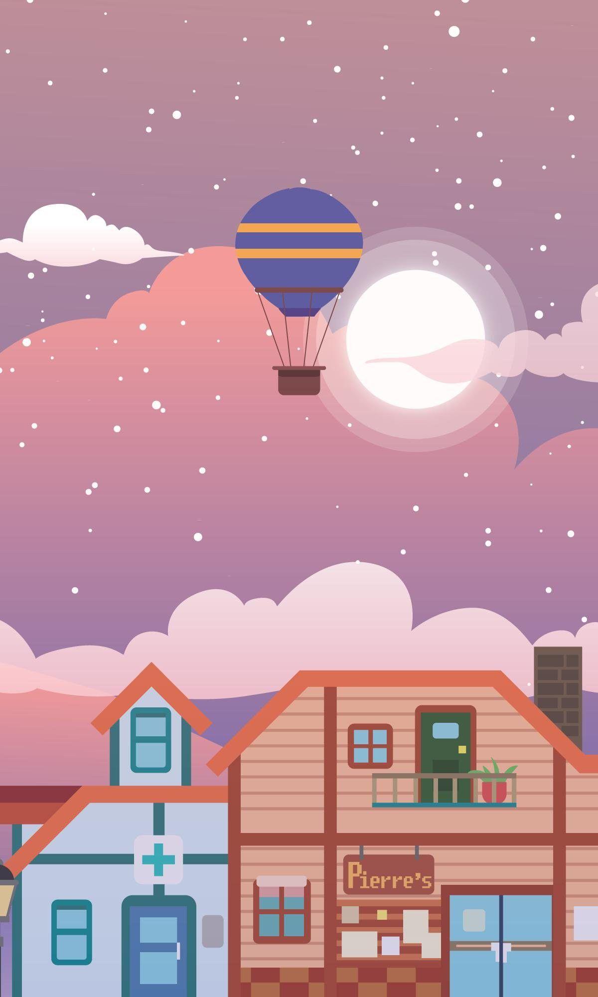 Stardew Valley Art Hot Air Balloon Ride Over Pelican Town Pierre S General Store Harvey S Clinic P Stardew Valley Stardew Valley Fanart Nerdy Wallpaper