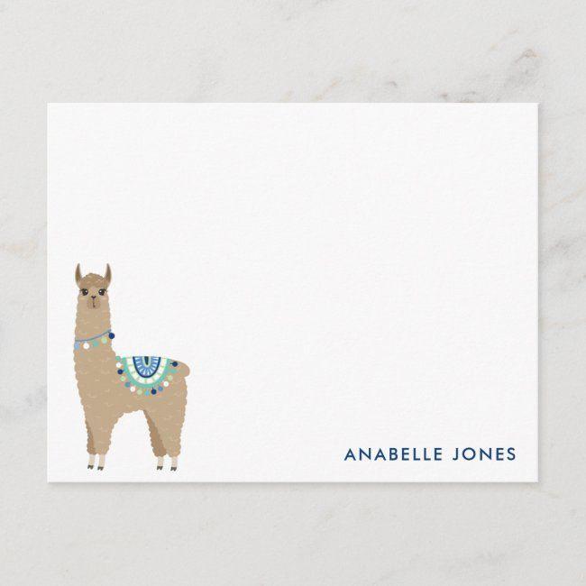 Cute Llama Personalized Flat Thank You Notes #monogram #name #llama #alpaca #animals #alpaca #alpacas #llama #llamas #cuteanimal #cute #giftideas