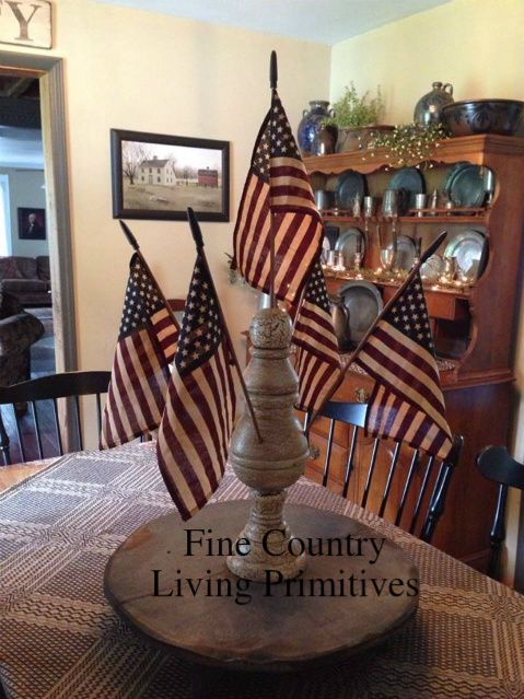 Primitive americana large american flag finial fine country living primitives