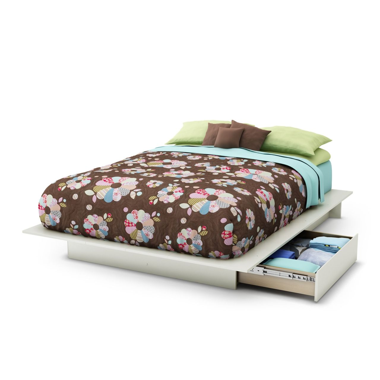 Queen size Modern Platform Bed with 2 Storage Drawers in White Finish - Quality House