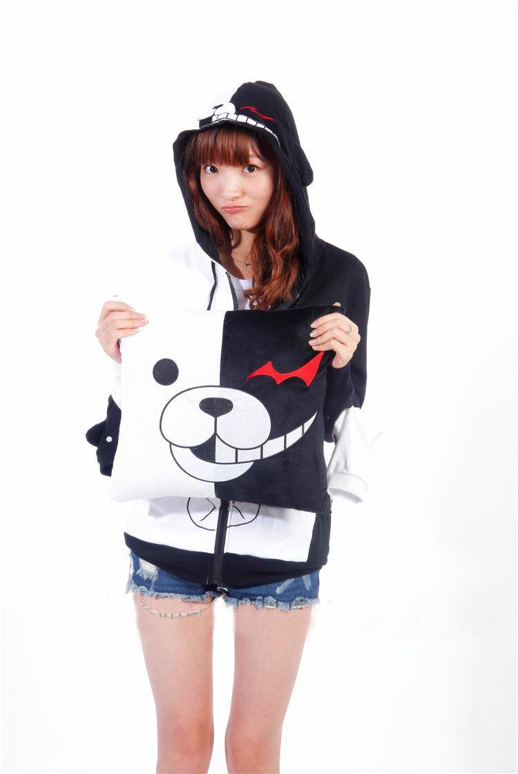 black and white anime hoodie