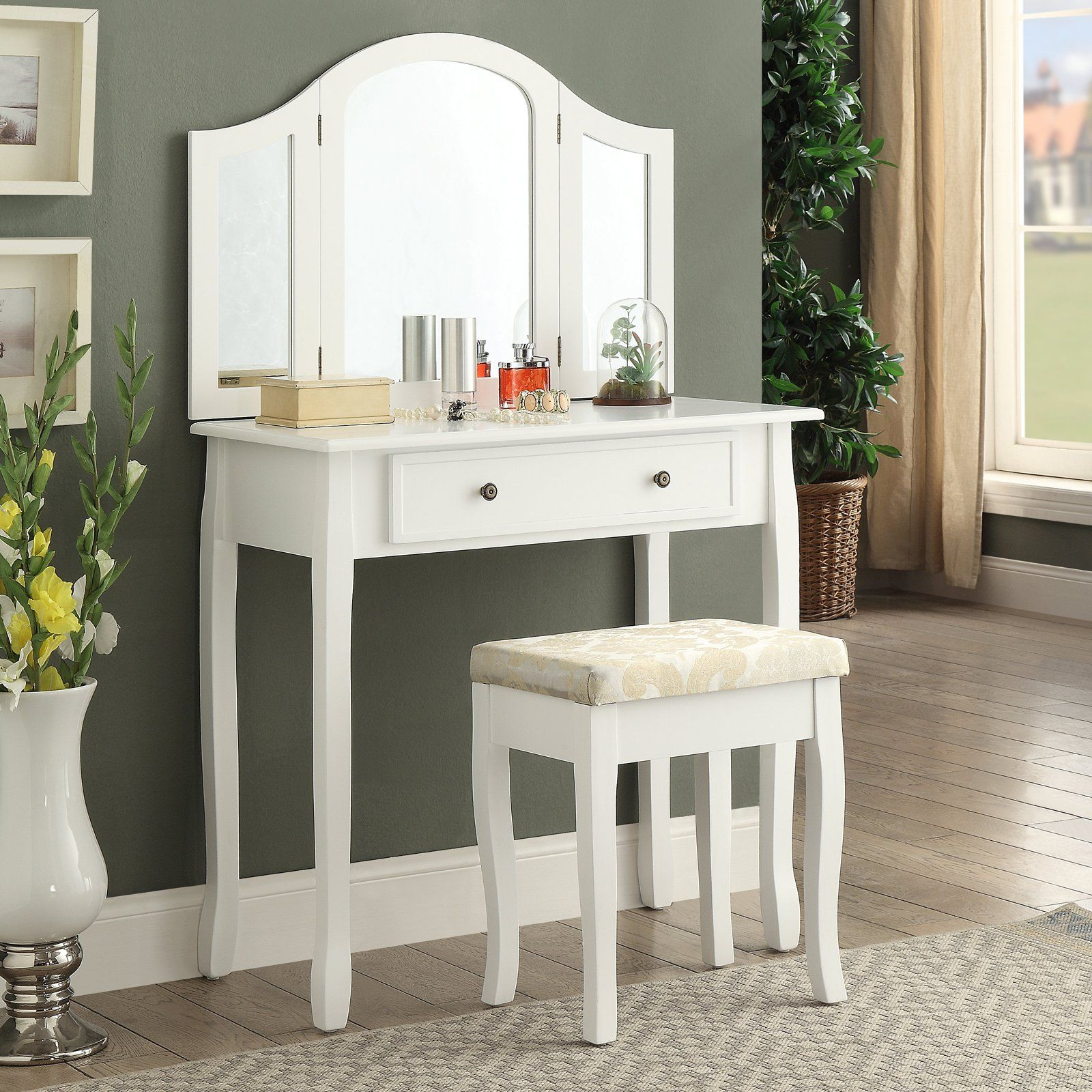Roundhill Furniture Sanhy Wooden Bedroom Vanity and Stool Set in ...