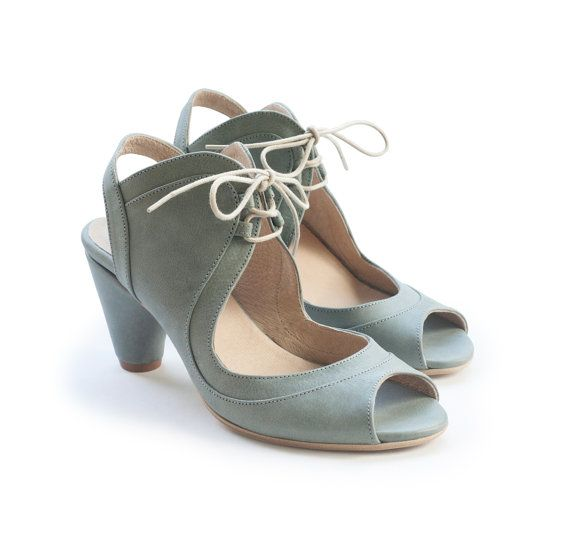 d4cb24e028 Women Shoes, Sage green sandals, green shoes, handmade Leather shoes by  Liebling on Etsy, Heels women sandals , Women heels. free shipping