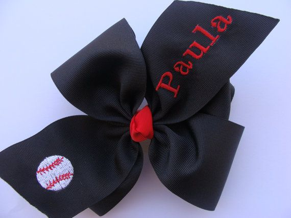 Hair Bow - Softball - Baseball - Boutique - Monogrammed - Embroidered - Boutique - Wide - Large - Big - Girl's Hair Bow