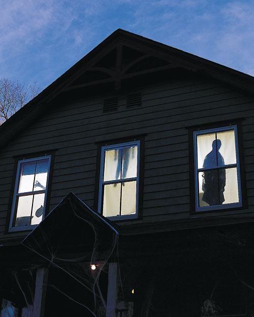 DIY Silhouette Curtains - Outdoor Halloween Decorations Halloween - outdoor halloween ideas