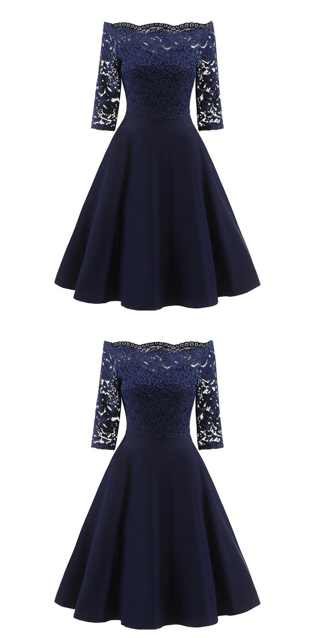 Perfect Navy Blue Homecoming Dress,Off The Shoulder Short Prom Dress,A-Line Graduation Dress,Custom Made Cheap Party Dress #navyblueshortdress