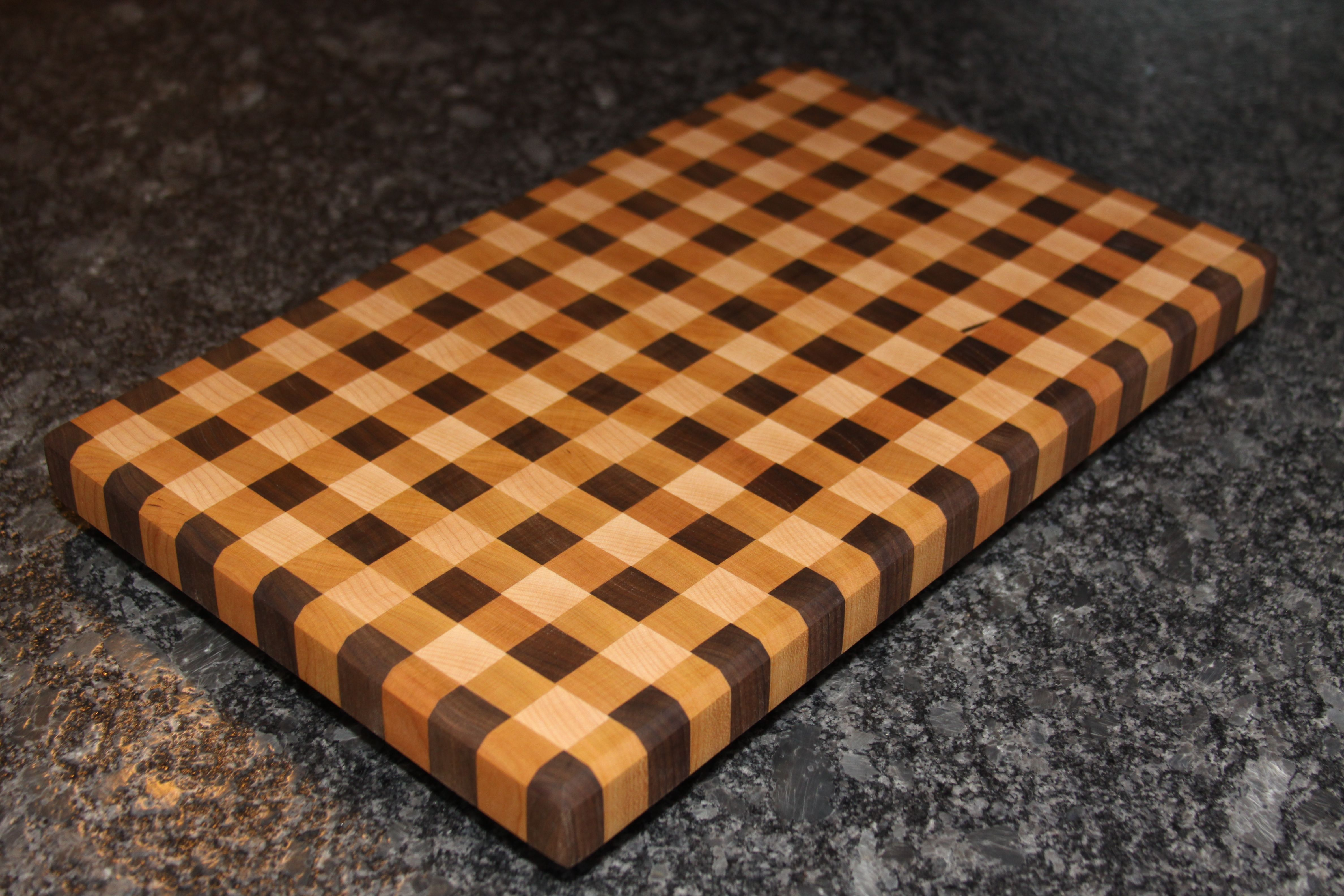 Gingham Pattern End Grain Cutting Board Butcher Block