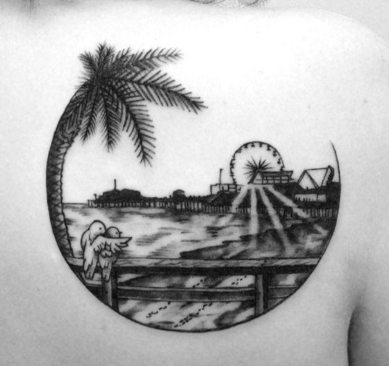 Tate Dean S Tattoo Portfolio Santa Monica Pier At Sunset With