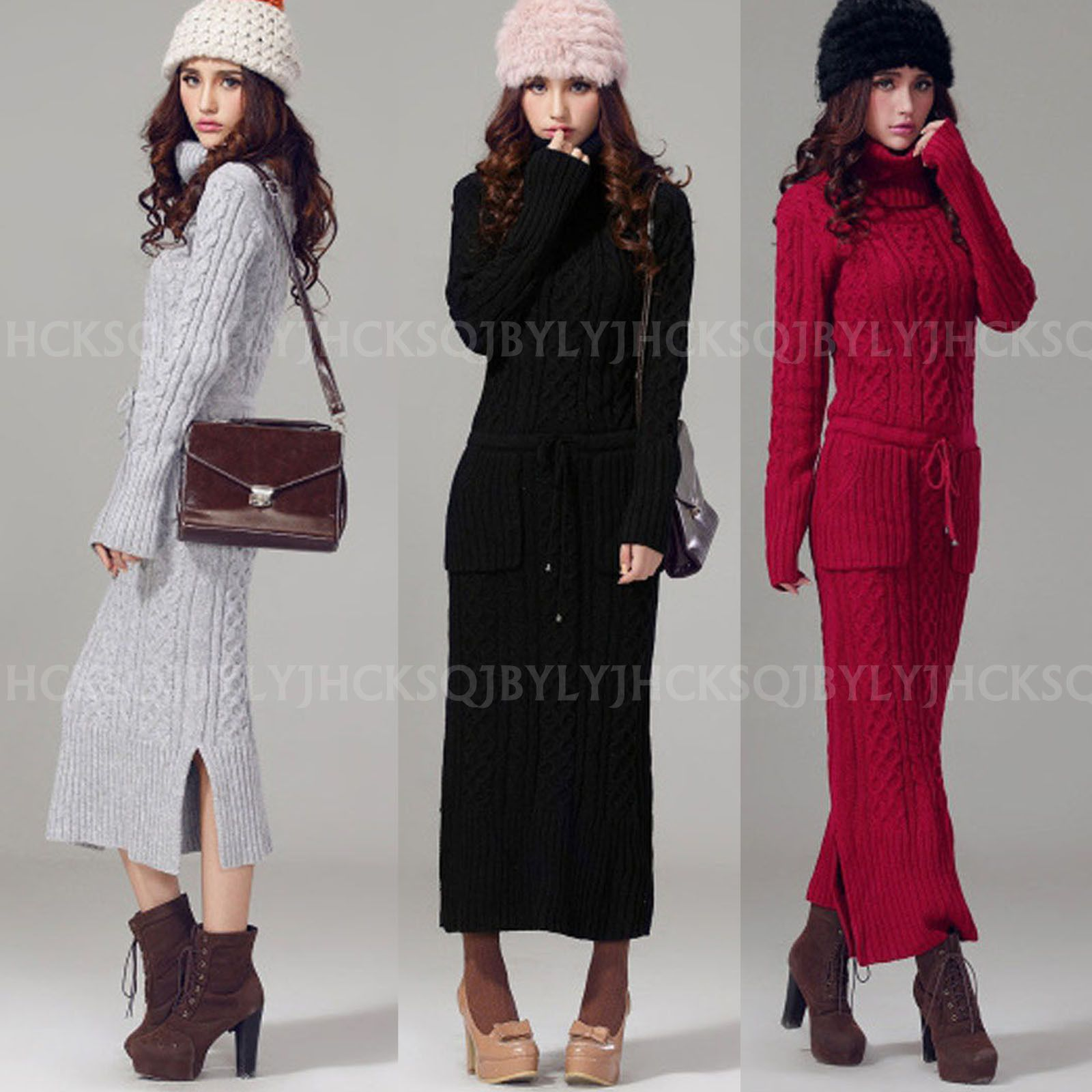 24432cba39a Winter Warm Women Turtleneck Chunky Knit Wool Blend Pullover Maxi Sweater  Dress