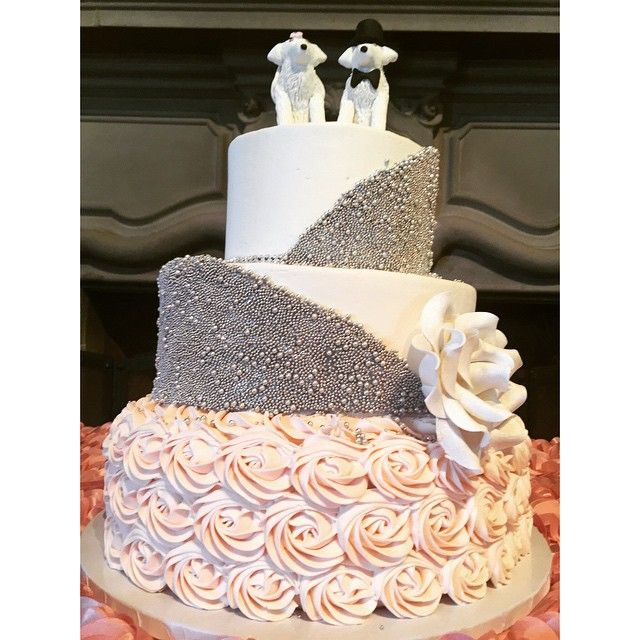 Beaded Wedding Cake by a Bakeshop!