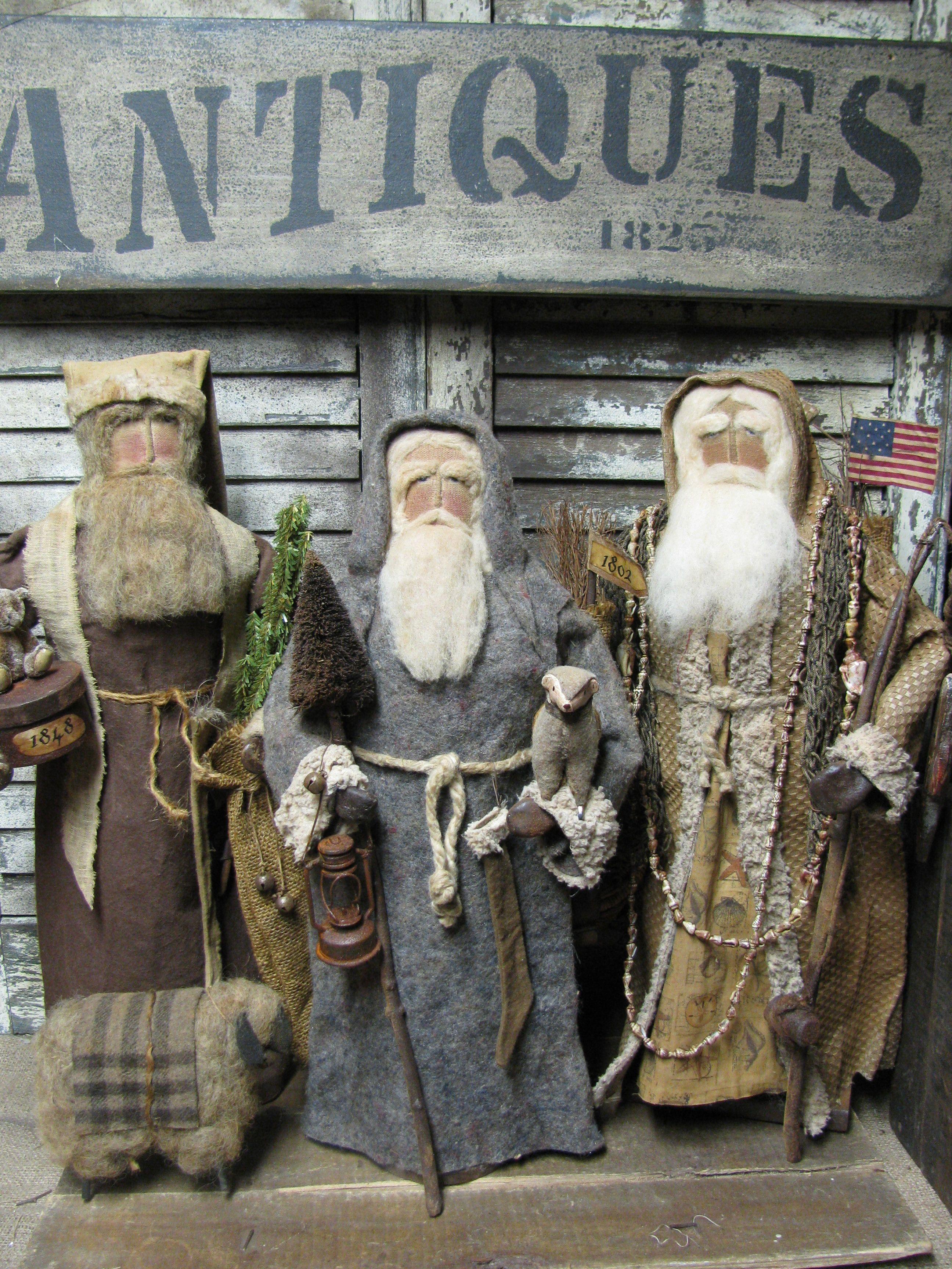 Olde Thyme Santa's by Folk Artist Sue Corlett. Follow me