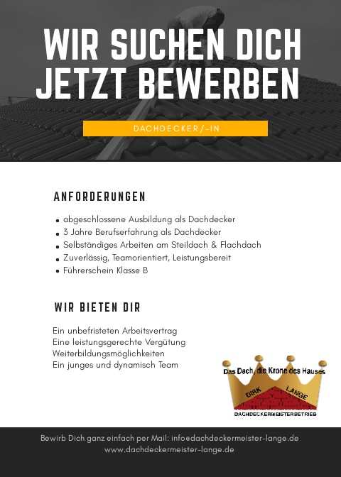 Wir suchen Dich! https//www.dachdeckermeisterlange.de