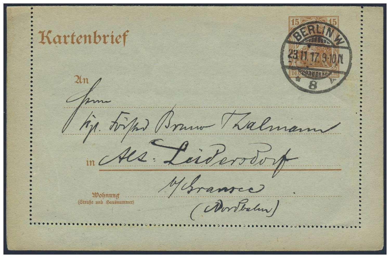Germany, German Empire, Deutsches Reich 1916, 15 Pfg.-GA-Kartenbrief, von Berlin nach Alt-Lüdersdorf (Mi.-Nr.K 16/Mi.EUR 35,--). Price Estimate (8/2016): 10 EUR. Unsold.