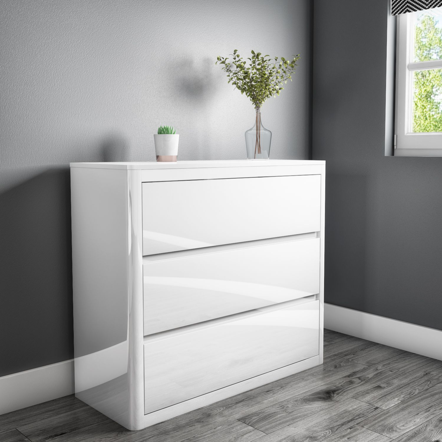 Lexi White High Gloss 3 Chest of Drawers LEX003 Chest of