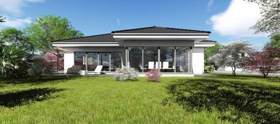 bungalow typ 4 mit 140 qm ansicht garten haus in 2019 grundriss bungalow haus und bungalow. Black Bedroom Furniture Sets. Home Design Ideas