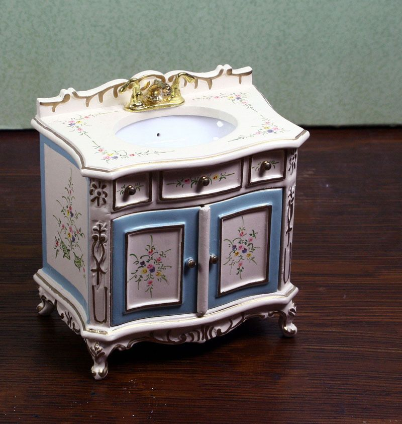 Miniature Dollhouse Furniture By JIAYI Cream Blue Sink 1/12 1:12 Scale New