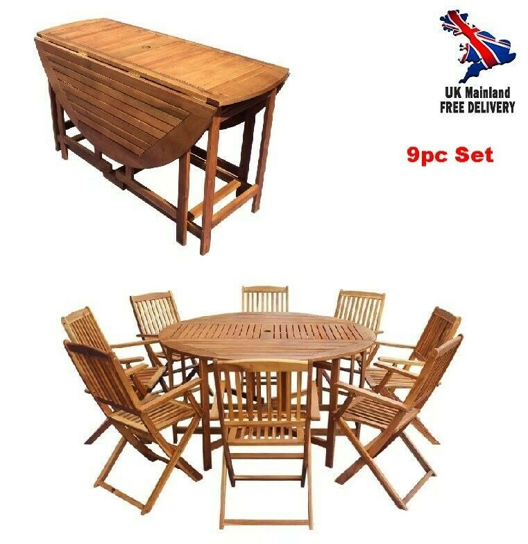 Outdoor Dining Set Table 8 Chairs Wood Folding Patio Garden Seating Furniture Uk Furniture Summer Furniture Rattan Garden Furniture Sets Dining Table Setting