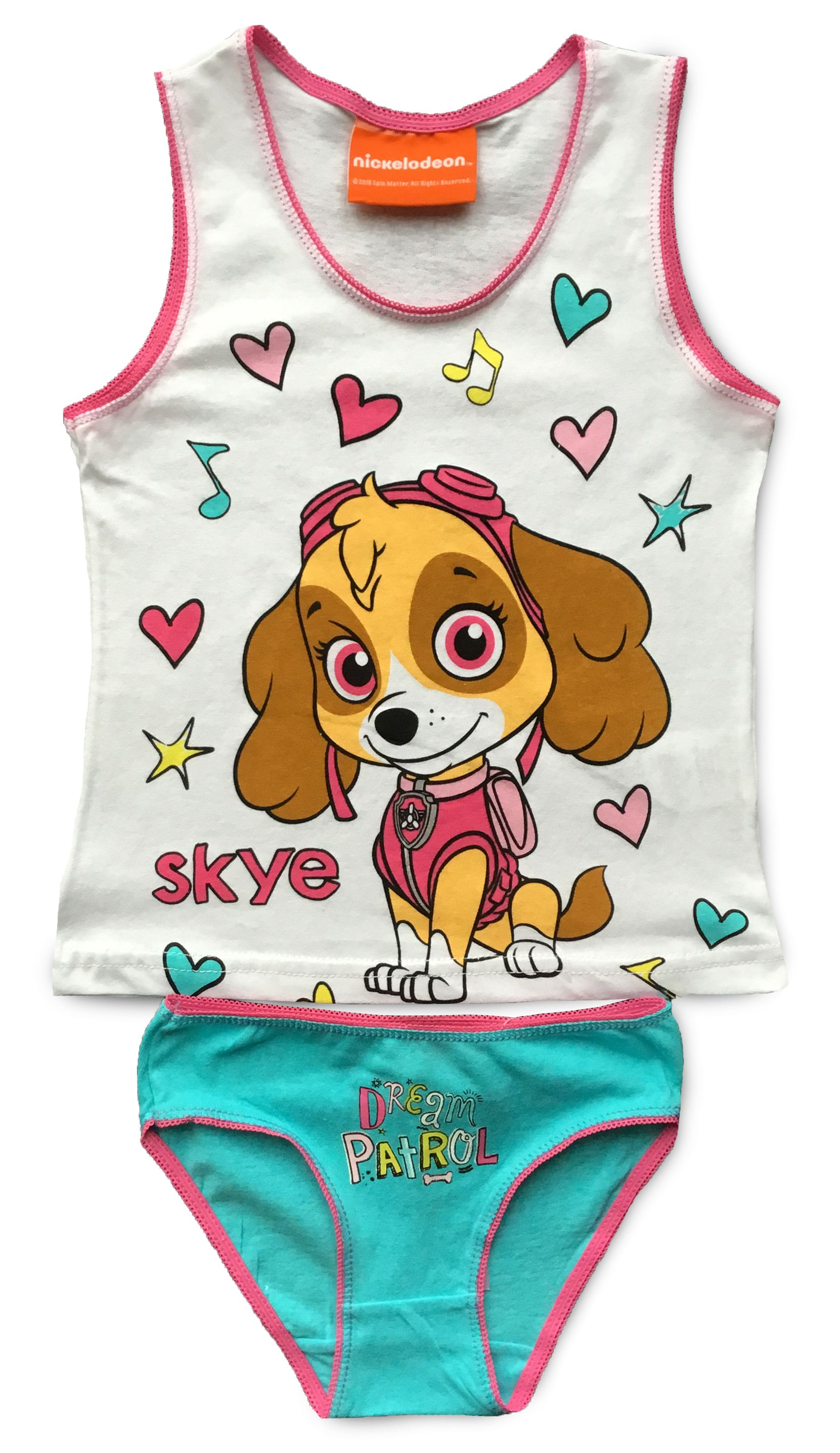 White//Pink Top Vest /& Briefs Set for Girls Skye PAW Patrol