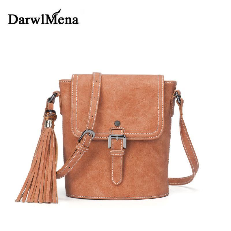 Vintage Scrub Leather Bucket Bag Women Shoulder Messenger Bags Tassel Crossbody  Bag PU Leather Handbag Famous b8fba73f1196d