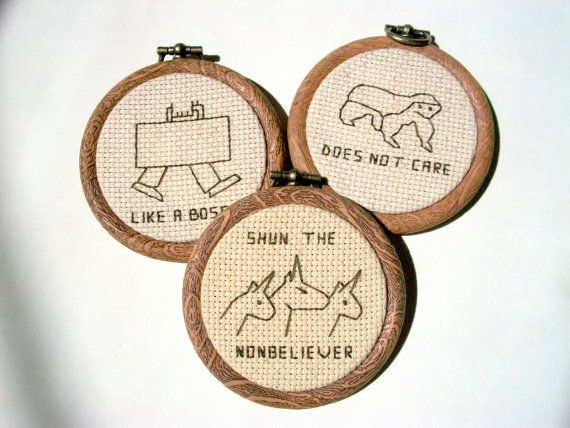 3 modern hobo signs choose any 3 cross stitched hobo
