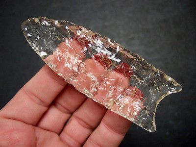 Fine Carolinas Crystal Quartz Clovis Point Indian Arrowheads
