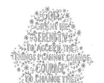 Serenity Prayer Coloring Page Digital Download Coloring Etsy Quote Coloring Pages Coloring Pages Serenity Prayer