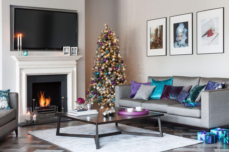 teal purple christmas living room decor  christmas living
