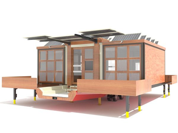 On Wheels, it folds up to a narrow trailerable size complete with solar power, more than a trailer a mobile house - check the link