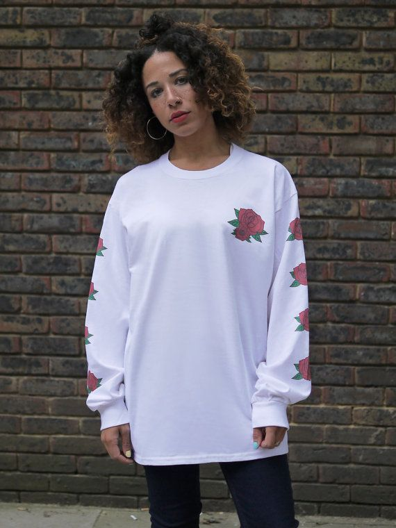 White Baggy Long Sleeved T-shirt Colourful by DreamButDoNotSleep