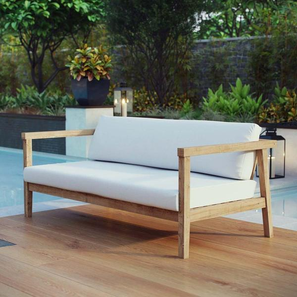 Modway Bayport Outdoor Patio Teak Loveseat Natural White With Images Teak Outdoor Furniture Outdoor Sofa