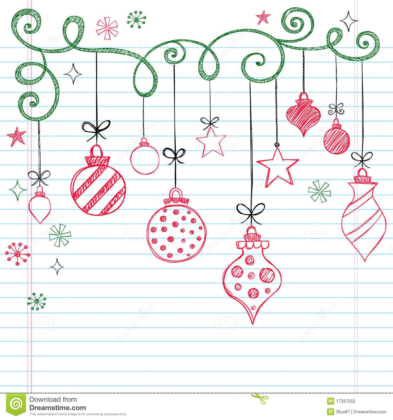 HandDrawn Sketchy Doodle Christmas Ornament simple