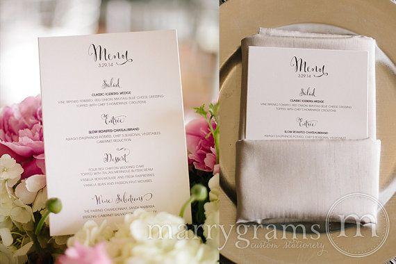 Elegant Wedding Menus  Simple Calligraphy Style by marrygrams