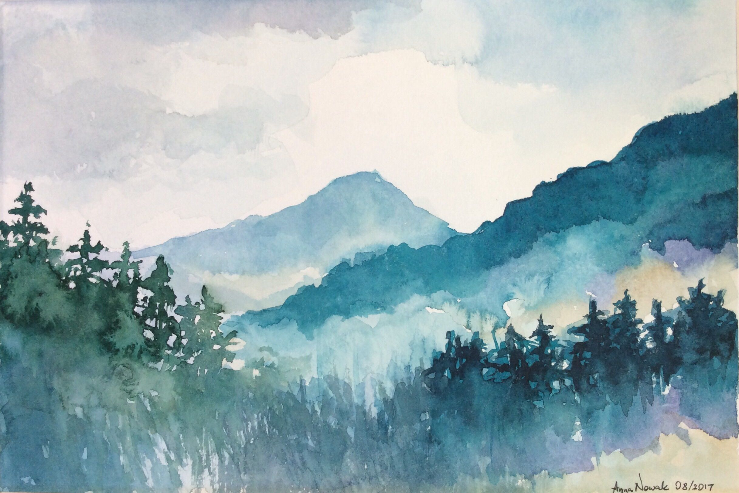 Matted Blue Mountains Original Watercolor Painting Landscape