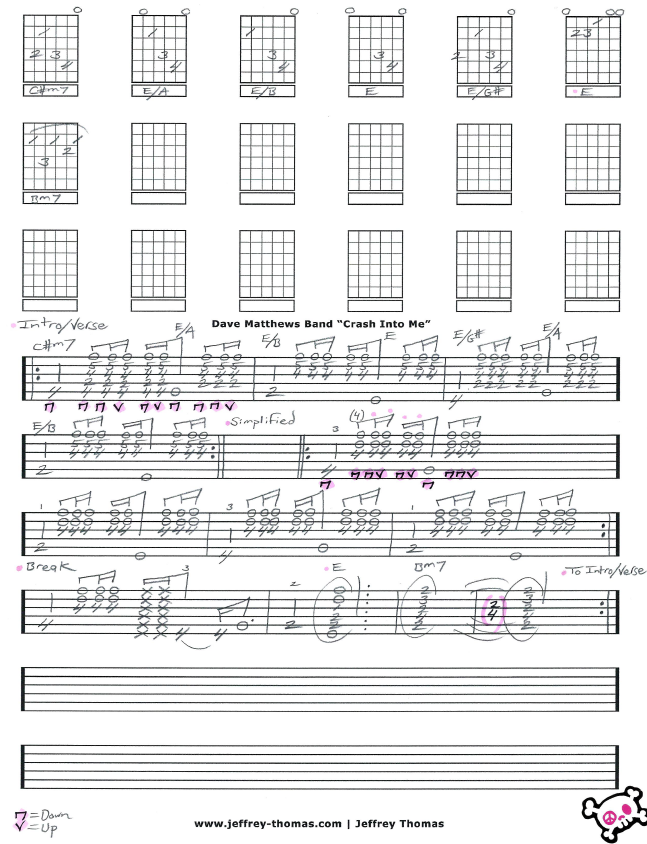 Violin dave matthews band violin sheet music : Dave Matthews Band Crash Into Me Guitar Tab by Jeffrey Thomas ...