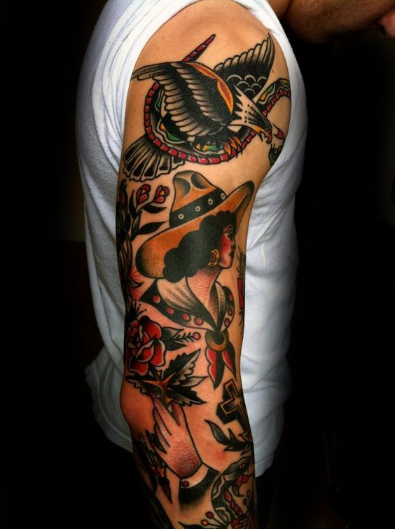 bald eagle traditional male full arm sleeve tattoo ideas. Black Bedroom Furniture Sets. Home Design Ideas