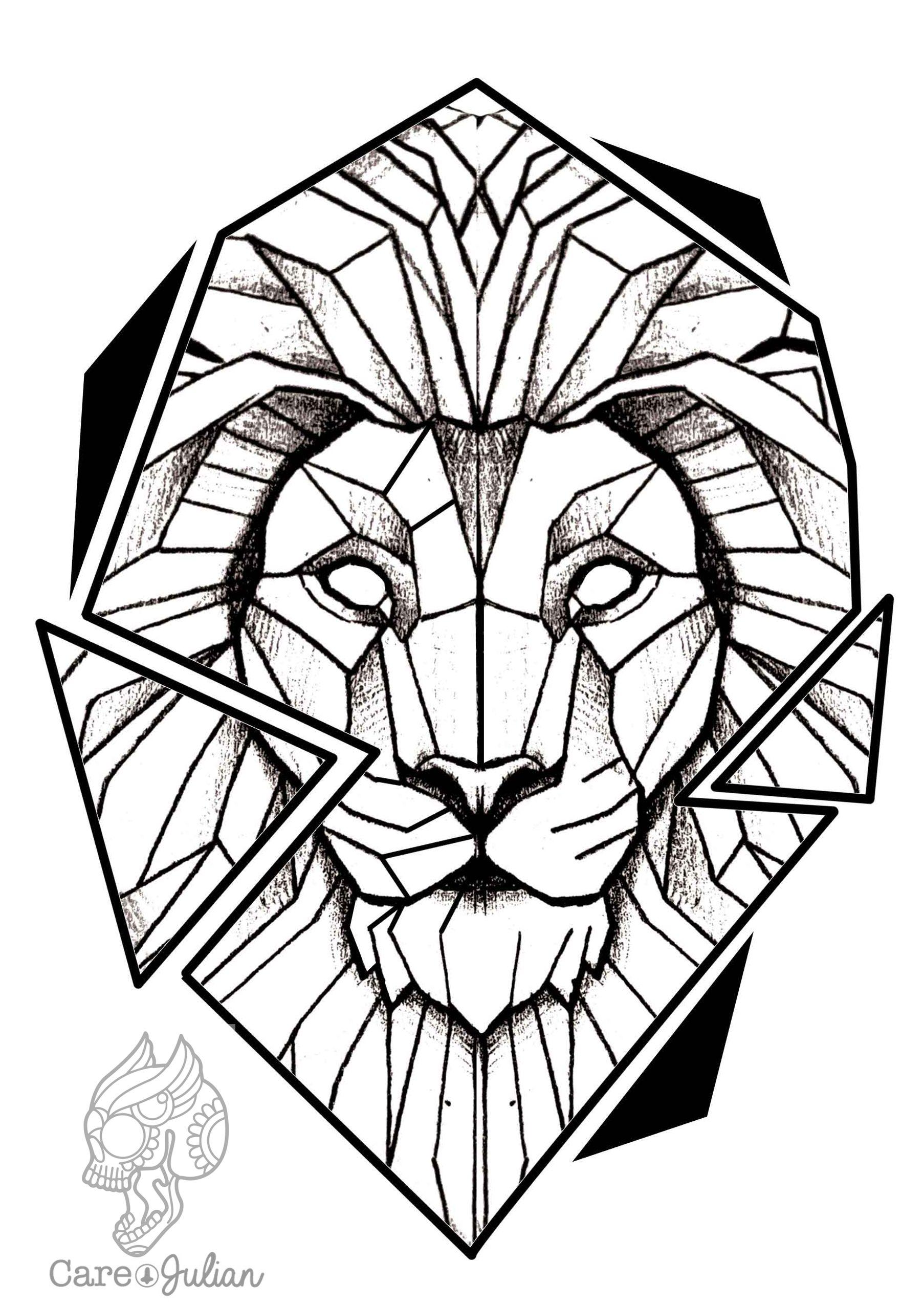 lion tattoo design leon tattoo lion design geometric dream house pinterest. Black Bedroom Furniture Sets. Home Design Ideas