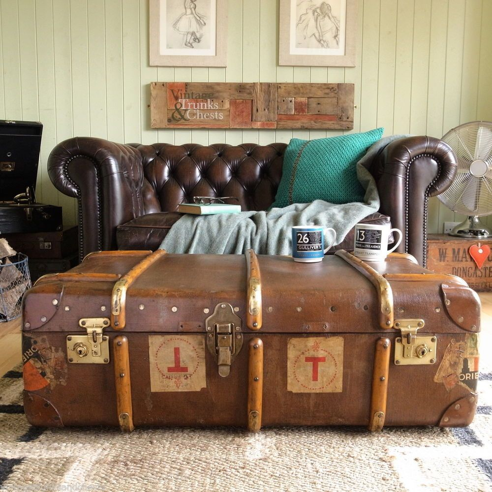 Vintage steamer trunk chest banded railway luggage military coffee vintage steamer trunk chest banded railway luggage military coffee table storage geotapseo Images
