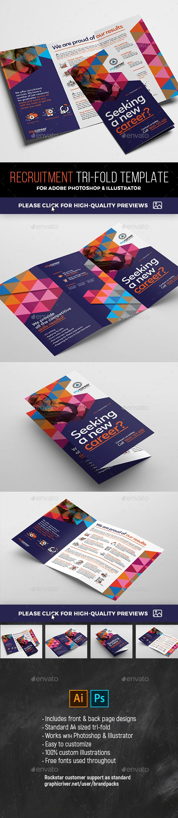 recruitment agency tri fold brochure template psd ai